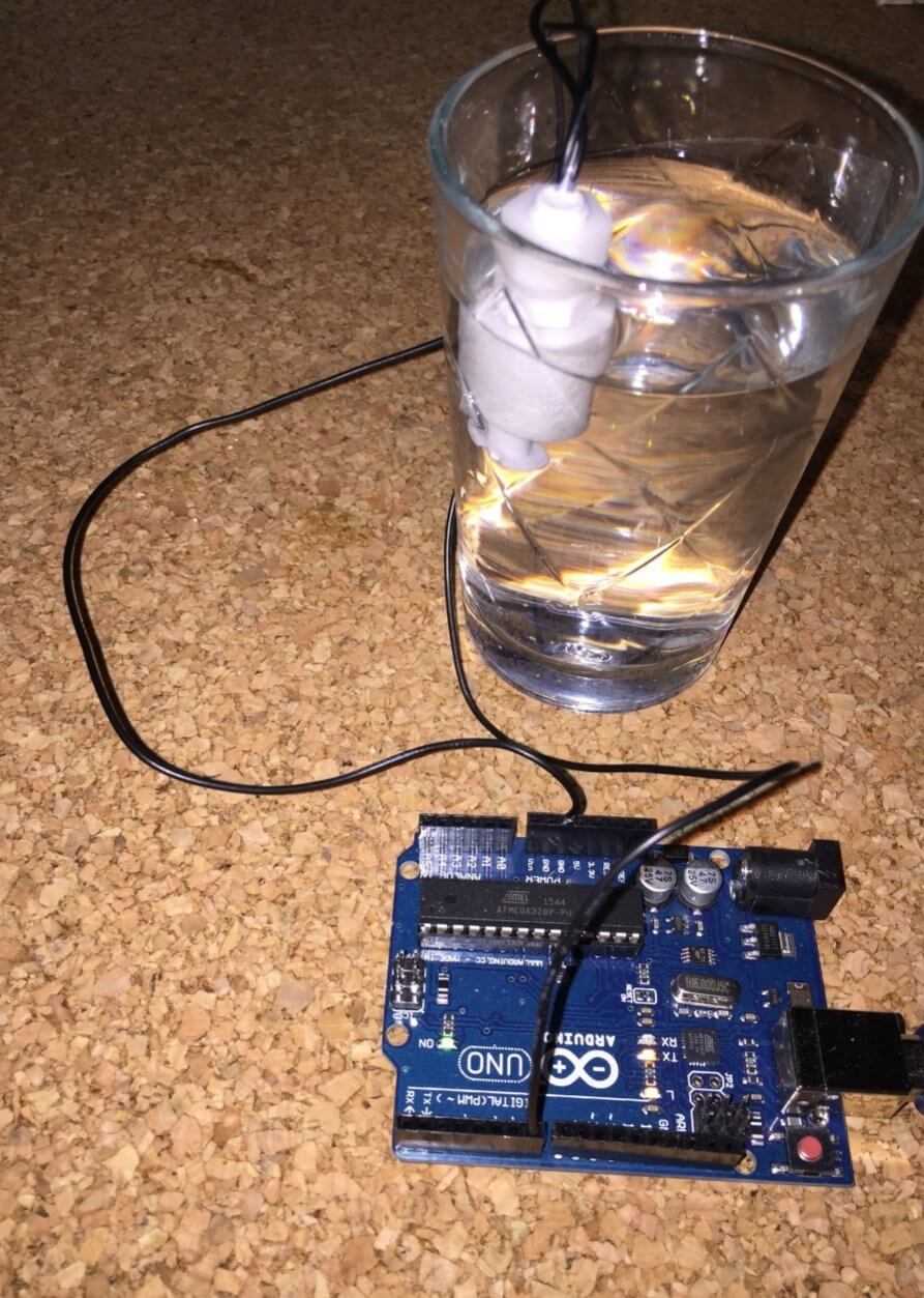 the experiment ARDUINO WITH FLOAT SENSOR